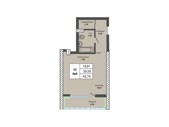 Планировки Жилой комплекс PRIME HOUSE (Прайм хаус) - Планировка однокомнатной квартиры 39,59 кв.м