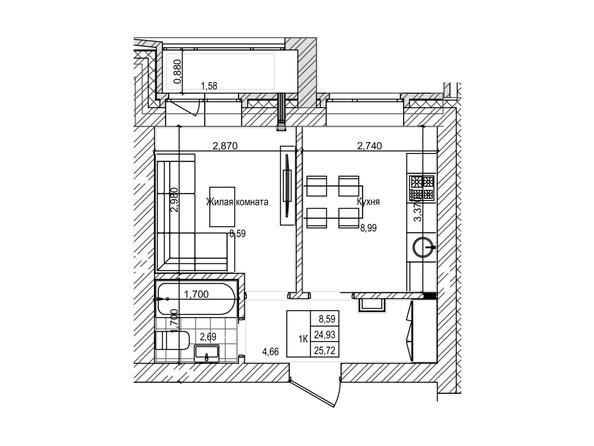 Планировка 1-комн 25,3 м²