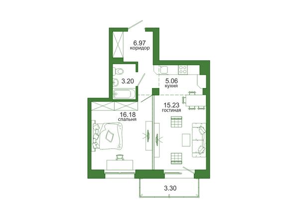 1-комнатная 49,94 кв.м