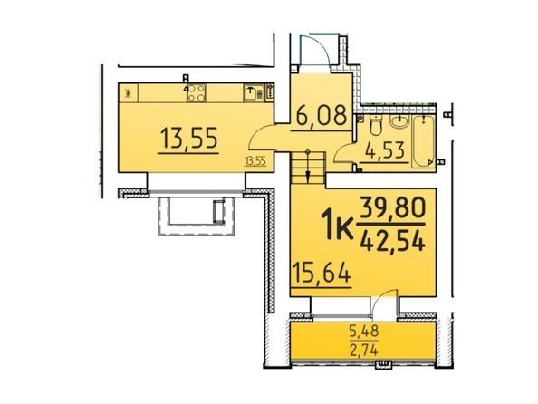 Планировка 1-комн 42,54 м²