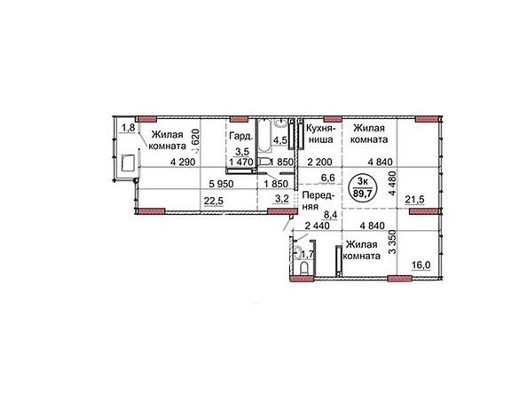 Планировки Жилой комплекс Пролетарская, 165 - Планировка трёхкомнатной квартиры 89,7 кв.м