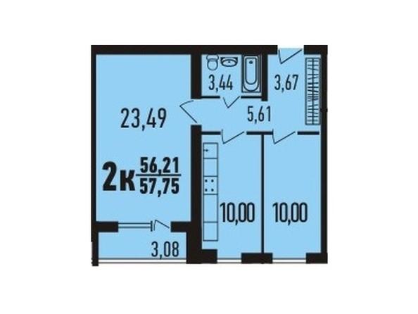2-комнатная 57.65 - 58.15 кв.м