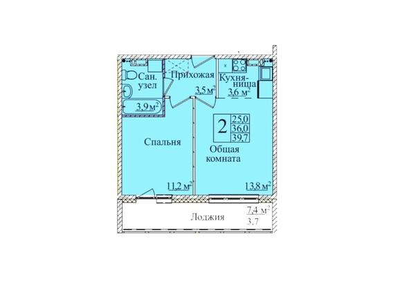 Планировки Жилой комплекс КЕМЕРОВО-СИТИ, 37, б/с 4,5  - Планировка двухкомнатной квартиры 39,7 кв.м