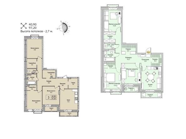 Планировки Жилой комплекс ЭВОЛЮЦИЯ, 1 оч, дом 2 - Планировка трехкомнатной квартиры 97,2 кв.м