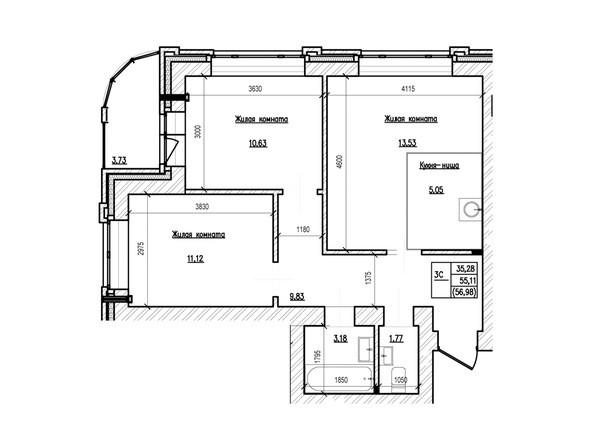Планировка 3-комн 56,98, 57,76 м²