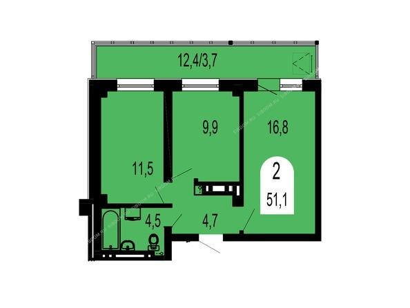 Планировки Жилой комплекс ТИХИЕ ЗОРИ, дом 1 (Красстрой) - Планировка двухкомнатной квартиры 51,1 кв.м