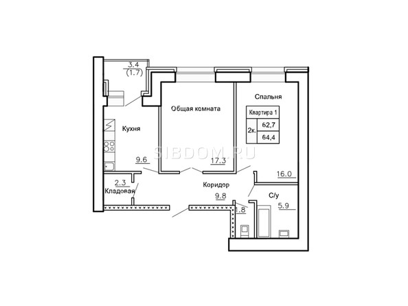 Планировки Жилой комплекс НОВАЯ ПРИСТАНЬ, дом 4 - Планировка двухкомнатной квартиры 64,4 кв.м