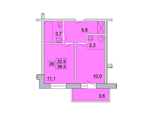 Планировка 2-комн 36,5 м²