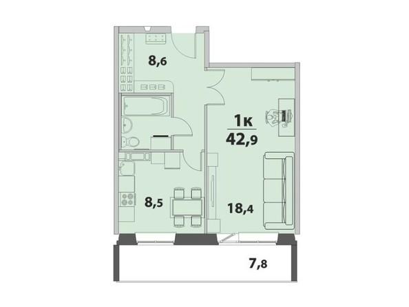1-комнатная 42.9 кв.м