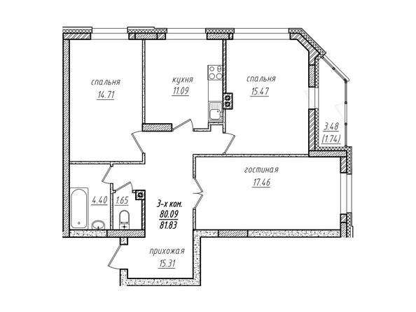 3-комнатная 81.83 кв.м