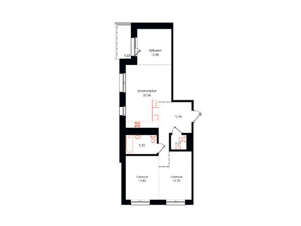 Планировка 3-комн 82,82 м²