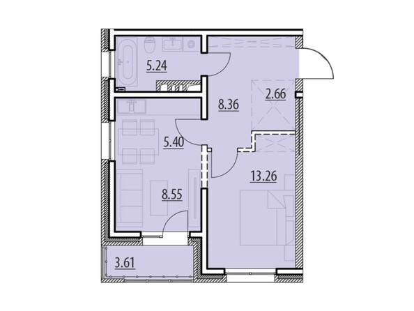 Планировка 1-комн 46,89 - 47,69 м²