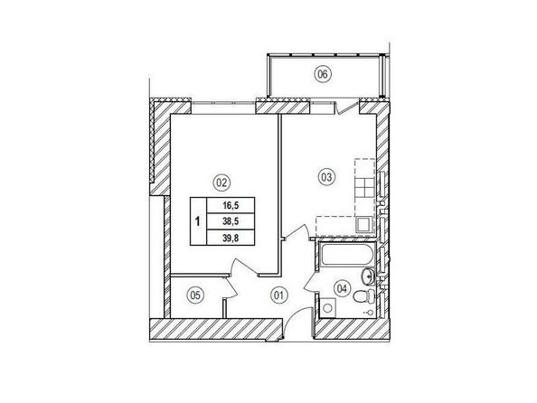 Планировки Жилой комплекс ВЕРХНИЙ БУЛЬВАР, 7 дом, б/с а,б,в - Планировка однокомнатной квартиры 39,8 кв.м