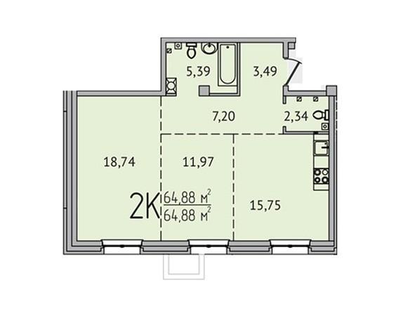 2-комнатная 64,88 кв.м