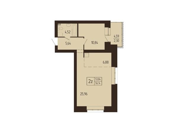 Планировки Жилой комплекс СВОИ ЛЮДИ  - Планировка двухкомнатной квартиры 56,14 кв.м
