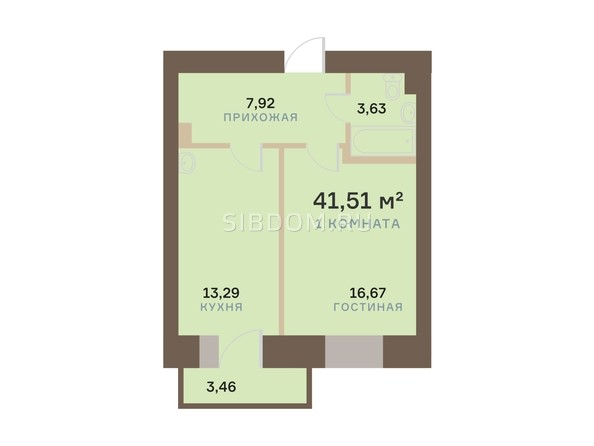 Планировка 1-комн 41,51 м²