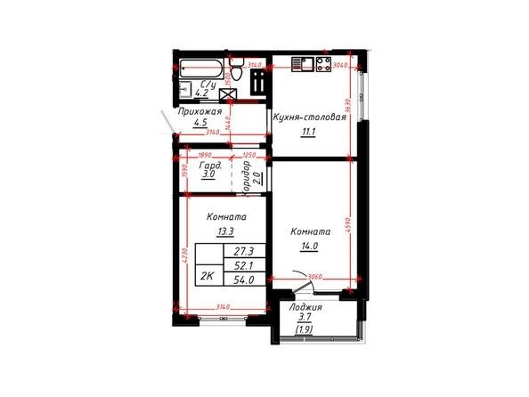 2-комнатная 54 кв.м