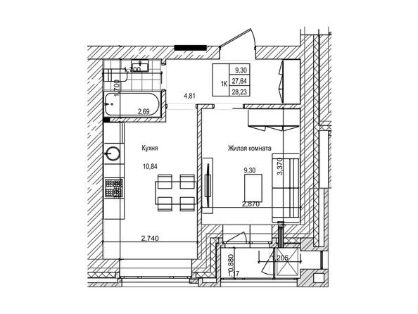 Планировка 1-комн 27,6 м²