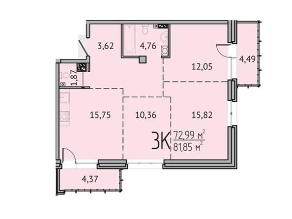 3-комнатная 72,99 кв.м