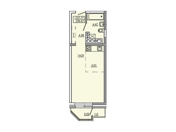Планировки Жилой комплекс Новое Ново-Ленино, б/с 30-32 - Планировка однокомнатной квартиры 30,79 кв.м