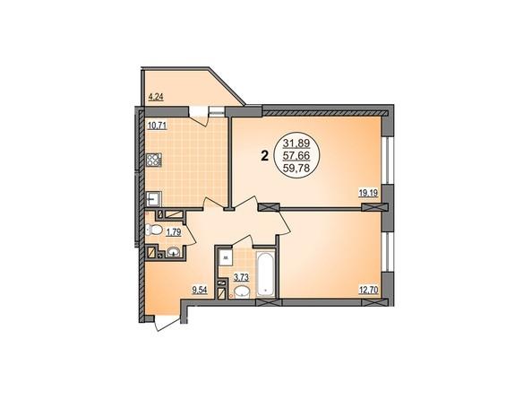2-комнатная 59.78 кв.м