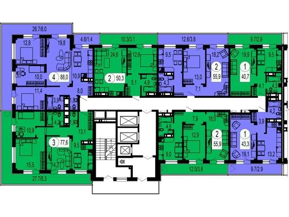1 секция. Планировка 21 этажа