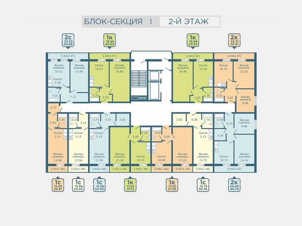 Планировки Жилой комплекс РАДУГА СИБИРИ, дом 1 - Подъезд 1. Планировка 2 этажа
