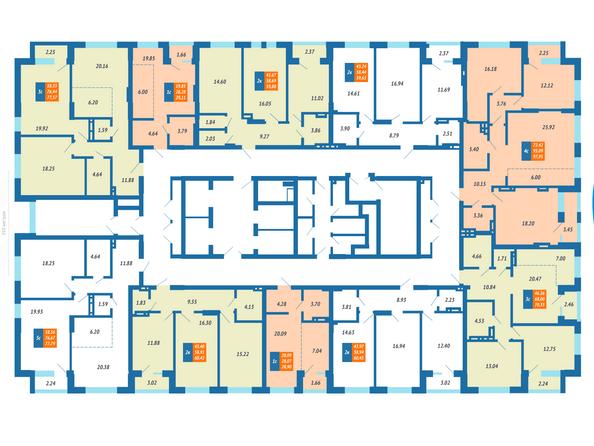 Планировка квартир на 8-24 этажах ЖК Гранит