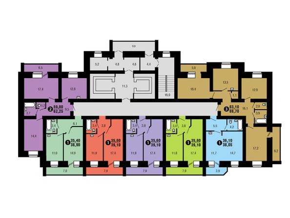 Планировки Жилой комплекс ФЕСТИВАЛЬ ж/к, 6 дом, 4 этап, 1 оч - Подъезд 1. Планировка 8-17 этажей