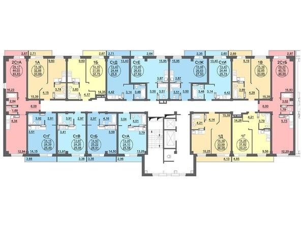 Планировки Жилой комплекс МАТРЕШКИН ДВОР 95/4, дом 1, 1,2 б/с - Блок-секция 1. Планировка 2-13 этажей
