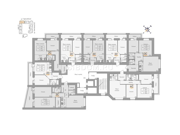 Планировки Жилой комплекс ДВЕ ЭПОХИ, корпус 3 - Планировка 10-11 этажей, 4 б/с