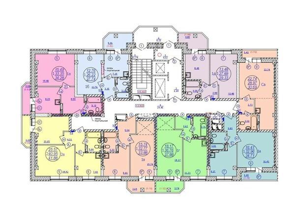 Планировки Жилой комплекс МОЛОДЕЖНЫЙ, дом 3 - Подъезд 1. Планировка 2-15 этажей