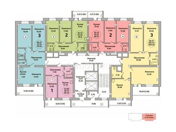 Планировки Жилой комплекс РОДНИКИ, дом 453 - Блок-секция 2. Планировка 4-12 этажей