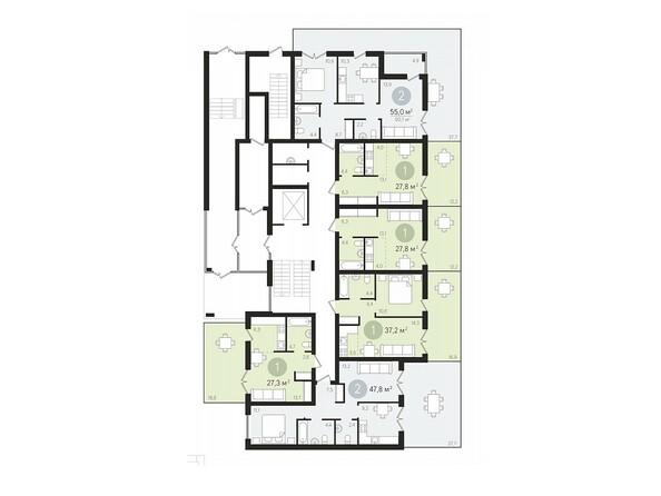 Планировки Жилой комплекс ДУНАЕВСКИЙ, дом 2 - Подъезд 4. Планировка 1 этажа