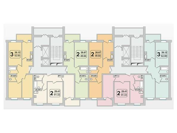 Планировки Жилой комплекс ГРАНД-ПАРК, б/с 1.3 - Планировка 10-17 этажей
