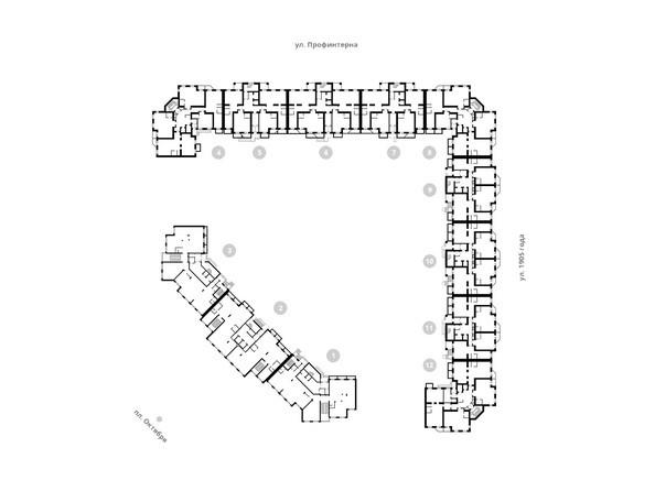 Блок-секции 1-12. Планировка 3-12 этажей