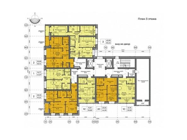 Планировка 3 этажа, 2 секция