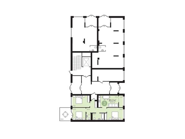 Планировки Жилой комплекс ЕВРОПЕЙСКИЙ БЕРЕГ, дом 23 - Подъезд 3. Планировка 1 этаж