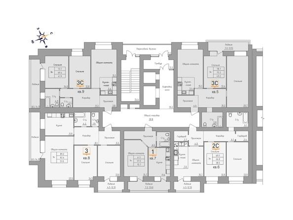 Планировки Жилой комплекс ДВЕ ЭПОХИ, корпус 3 - Планировка 2 этажа, 1 б/с
