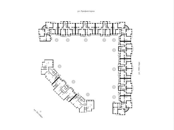 Блок-секции 1-12. Планировка 2 этажа