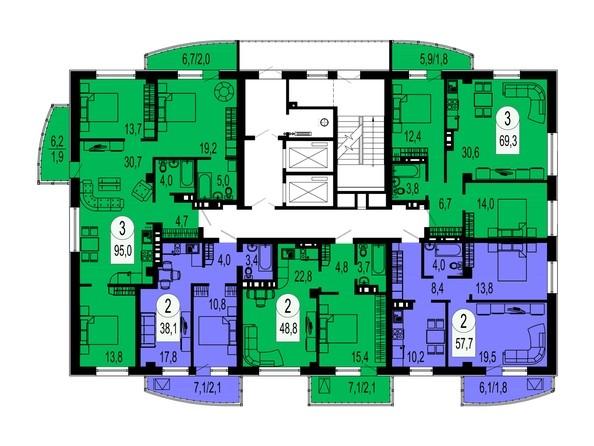 Планировки Жилой комплекс БЕЛЫЕ РОСЫ, дом 32 - Планировка типового этажа