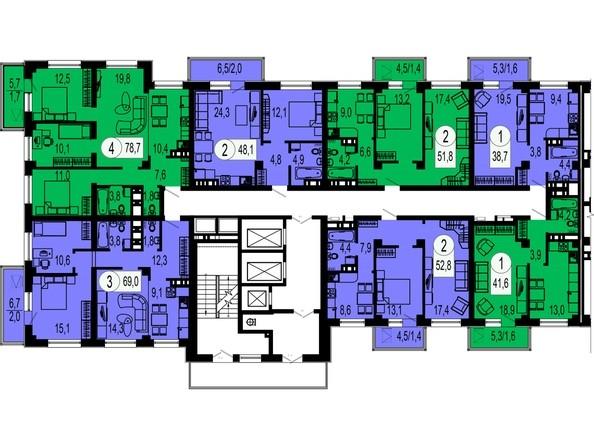 1 секция. Планировка 7 этажа