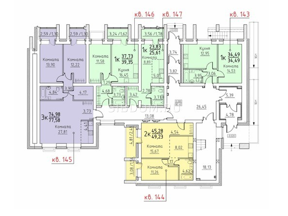 Подъезд 7. Планировка 1 этажа