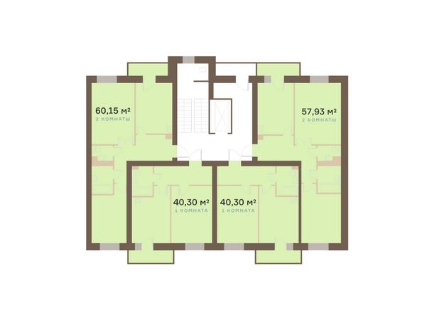 Планировки Академгородок, дом 1, корп 1 - Корпус 1. Подъезд 5. Планировка типового этажа