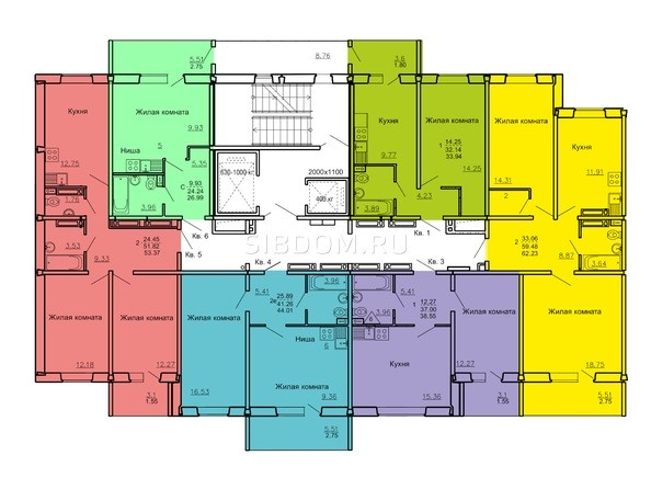 Подъезд 1. Планировка типового этажа