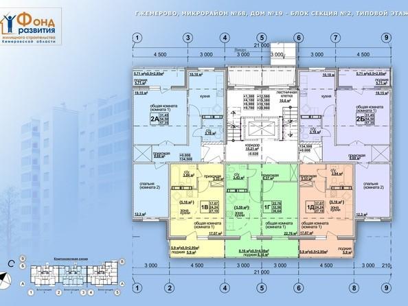 Планировки Жилой комплекс ТОМЬ, дом 19 - б/с 2. Планировка типового этажа
