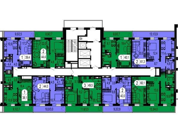 2 секция. Планировка 21 этажа
