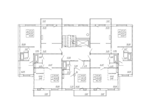 Планировки ТАРСКАЯ КРЕПОСТЬ-2, дом 10, оч 2 - Блок-секция 3. Планировка типового этажа