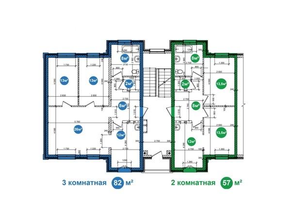 Планировка 2,3-комнатной квартиры на 1 и 2 этажах