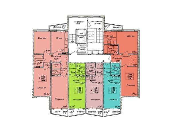 Планировки Жилой комплекс ВОСТОЧНЫЙ, дом 85/2 - Блок-секция 1. Планировка 8-12 этажей